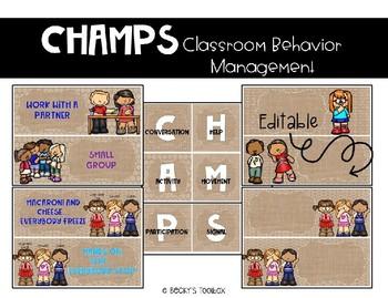 CHAMPS Classroom Behavior Management Editable Burlap