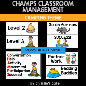 CHAMPS Classroom Management Cards Camping Theme Editable