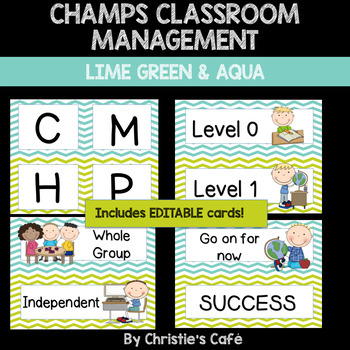 CHAMPS Classroom Management Cards in Aqua & Lime Green Chevron