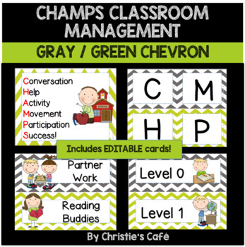 CHAMPS Classroom Management Cards in Grey & Yellow Chevron