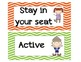 CHAMPS Classroom Management Cards in Orange, Green, & Purple Chevron