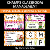 CHAMPS Classroom Management Cards in Orange, Green, & Purple Chevron