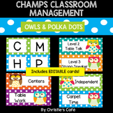 CHAMPS Classroom Management Cards EDITABLE (owls with polk