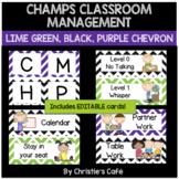 Classroom Management Posters in Chevron EDITABLE (purple,