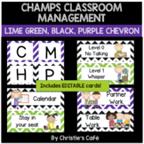 Classroom Management Posters in Chevron EDITABLE (purple, green, black)