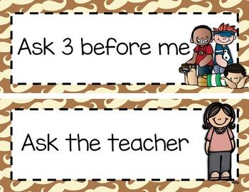 CHAMPS Classroom Managment set:  Blue/Brown Mustache