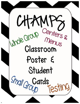 CHAMPS Classroom Sign and Student Cards