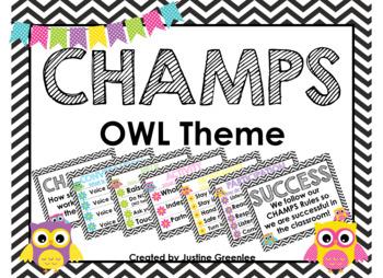 CHAMPS Clip Chart Owl Theme {Editable}