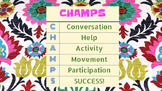 CHAMPS Letters in Colorful Flower Background