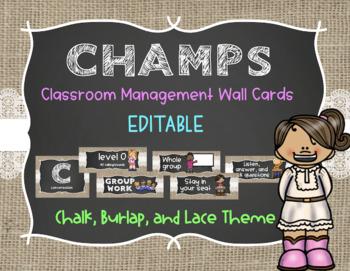 CHAMPS Management System Wall Cards *EDITABLE* - Burlap, Chalk, & Lace Theme