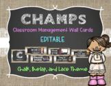 CHAMPS Behavior Management System Posters *EDITABLE* - Burlap, Chalk, & Lace