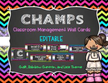 CHAMPS Behavior Management System Posters *EDITABLE* - Chevron, Chalk, & Lace