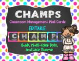 CHAMPS Behavior Management System Posters *EDITABLE* Multi-Color Dots,Chalk,Lace