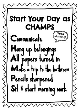 CHAMPS Classroom Management Routine Poster