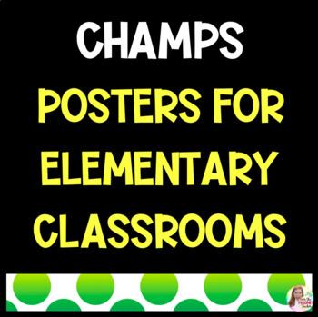 CHAMPS Polka Dot Rainbow Elementary Classroom Posters