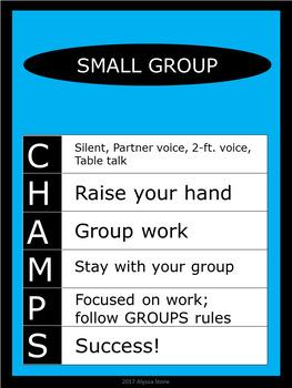 CHAMPS Posters/Bulletin Board Headings - Aqua - Vertical