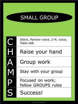 CHAMPS Posters/Bulletin Board Headings - Green - Vertical