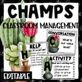 CHAMPS Posters and Clip Chart - Rustic Plant Theme - Editable
