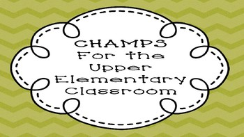 CHAMPS Posters for the Upper Elementary Classroom