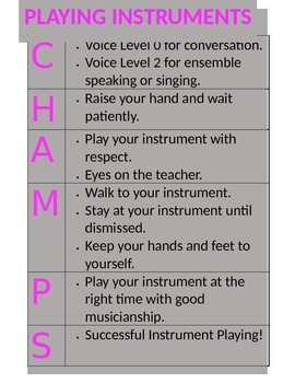 CHAMPS Procedures for Instrument Playing EDITABLE