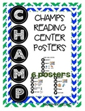 Classroom Management CHAMPS Reading Center Cards Posters
