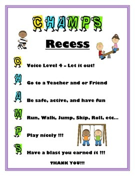 CHAMPS School Expections Posters
