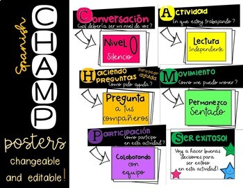 CHAMPS Spanish interchangeable Posters - editable