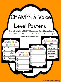 Bright & Black CHAMPS & Voice Level Posters {Simple}