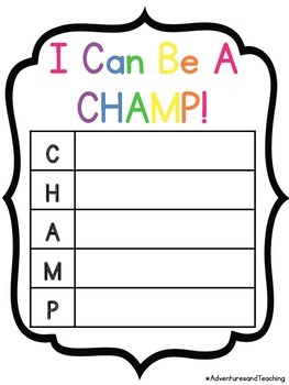 Bright & White CHAMPS & Voice Level Posters {Simple}