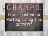CHAMPS clipchart/posters (barnwood & chalkboard)