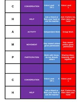 CHAMPS editable desktop color coded chart excel