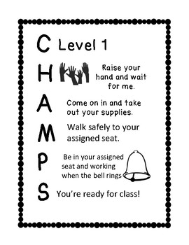 CHAMPS expectations for entering class