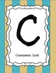 CHAMPS letter posters (Teal & Beige Striped)