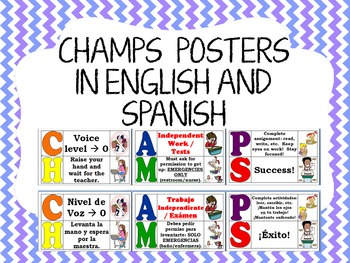 CHAMPS posters in English and Spanish