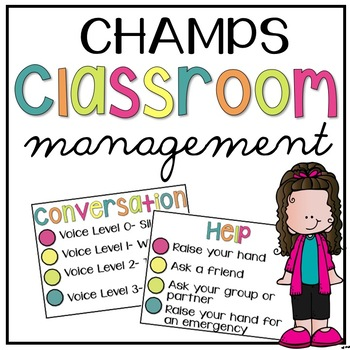 CHAMPs Classroom Management Posters Simple and Bright