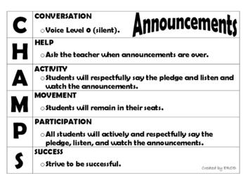 CHAMPs Classroom Procedures