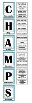 CHAMPs Clip Poster- Editable! Blue and Gray (Quatrefoil)