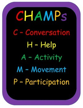 CHAMPs Picture Card Expectations for primary grades