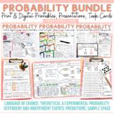 CHANCE AND PROBABILITY BUNDLE: EDITABLE SLIDES:TASK CARDS:PRINT-N-GO SHEETS