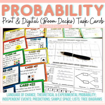 CHANCE AND PROBABILITY: 192 TASK CARDS; EDITABLE SLIDES
