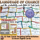 CHANCE AND PROBABILITY: LANGUAGE OF PROBABILITY/EVENTS: 32 TASK CARDS