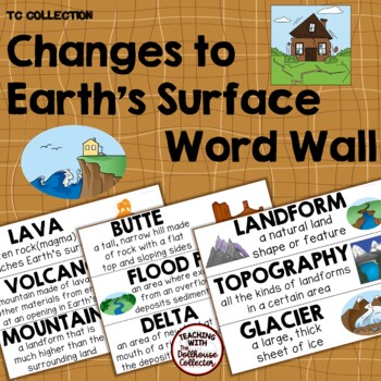 CHANGES TO EARTH'S SURFACE WORD WALL - From the TC Collection