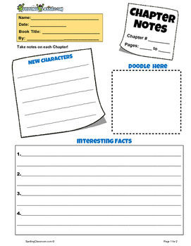 CHAPTER NOTES GRAPHIC ORGANIZER FOR ANY NOVEL / BOOK A FREE PRINTABLE WORKSHEET