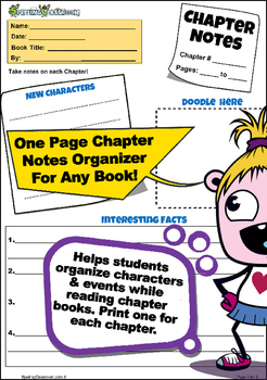 CHAPTER NOTES GRAPHIC ORGANIZER FOR ANY NOVEL / BOOK A FRE