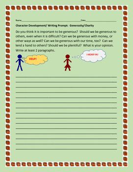 CHARACTER DEVELOPMENT WRITING PROMPT: GENEROSITY