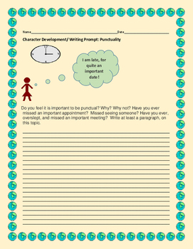 CHARACTER DEVELOPMENT WRITING PROMPT:PUNCTUALITY