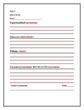CHARACTER EDUCATION/ GUIDANCE: WHEEL OF LIFE/ ESL/SPANISH ACTIVITY