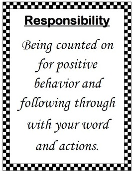 CHARACTER EDUCATION - Responsibility Program