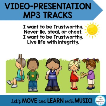 """Song: Character Education: """"I Want to be Trustworthy"""" Literacy and Mp3"""