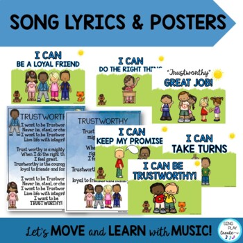 "Song: ""I Want to be Trustworthy"" Character Education, Literacy Activities, Mp3"